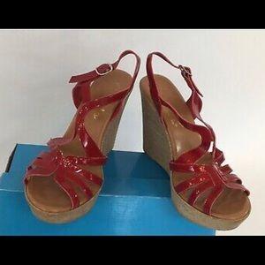 Callisto Of California Red Patent Wedge Sandal
